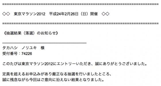 東京マラソン2012落選メール